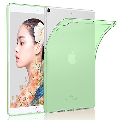 HBorna Silikon Hülle für iPad Pro 10.5 2017, TPU Crystal Case Cover, Dünn Soft Lichtdurchlässig Rückseite Abdeckung Schutzhülle für Apple iPad 10,5 Zoll, Grün - Case Grün Keyboard Ipad