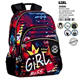Montichelvo Montichelvo Double Backpack A.O. CG Girl Bolsa Escolar, 43 cm, (Multicolour)