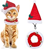 SCENEREAL Christmas Cat Costumi e Cappelli di Babbo Natale Collare per Gatti Piccoli Cani Piccoli Animali x-mas Regali