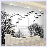 BHXINGMU Benutzerdefinierte Wandbild Tapete Neue Chinesische Art Jiangnan Wasser Malerei Tapete Wohnzimmer Schlafzimmer Hintergrundbild 150Cm(H)×200Cm(W)