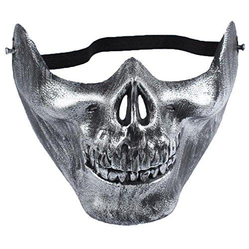 uesae Halloween Masken Scary Erwachsene Halloween Dekorationen Silber Kostüm Party Cosplay Karneval Zubehör Make Up Thema Party 115* 19cm