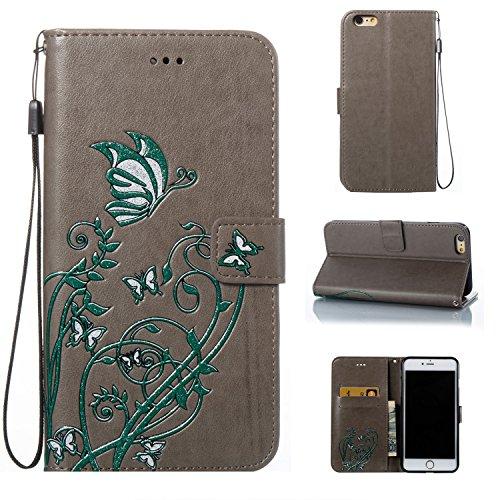 EKINHUI Case Cover Color Printing Embossing Blumen Muster PU Leder Geldbörse Case Cover Tasche [Magnetverschluss] mit Card Slots & Lanyard & Halter & Kickstand Für iPhone 6 Plus & 6s Plus ( Color : Pi Gray