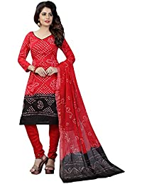 Taboody Empire Regular Style Red Satin Cotton Handi Crafts Bandhani Work With Straight Salwar Suit For Girls And...