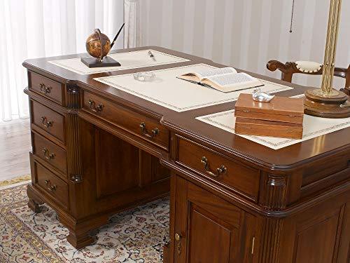 Simone Guarracino Partner Schreibtisch Victorian Englischer Stil Büro Doppelschreibtisch 160 cm walnuss Kunstleder Champagner