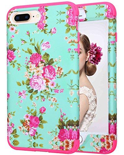 iPhone 8Plus/iPhone 7Plus Handy Fall, savyou 14cm Dual Layer Defender Shield Series Schutzhülle Shock Drop Schutz Armor Cover Flower - Hot Pink - Cellular Shield