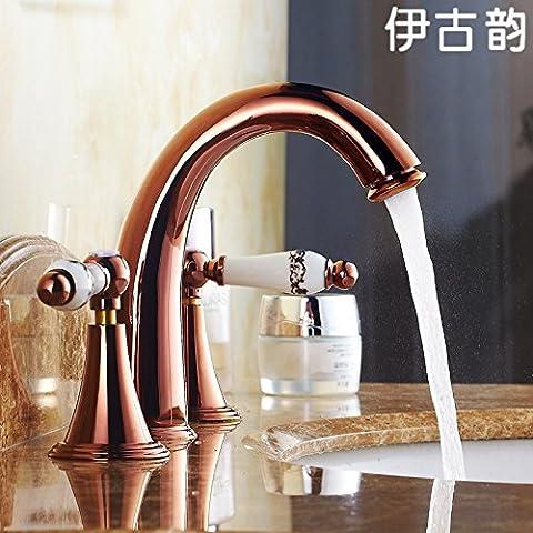 Continental clásico de lujo Brass-Antique Rose Gold 3 agujero de grifo de agua fría y caliente independiente CSÁSZÁR