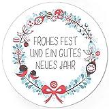 48 Weihnachtsaufkleber Frohes Fest und ein gutes neues Jahr - für Geschenke zu Weihnachten/Sticker/Aufkleber/Etiketten/Geschenkaufkleber rund/Set