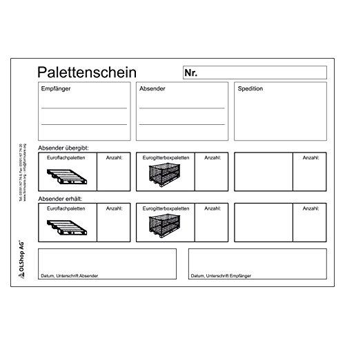 10er Pack Palettenscheine Lademittelnachweis DIN A5 quer (210 x 148 mm) 10 Blöcke á 25 Satz 4-fach selbstdurchschreibend Lademittelschein Ladeschein Palettennachweis
