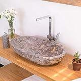 wohnfreuden Marmor Waschbecken MARA 70 cm ✓ oval poliert grauz ✓ Naturstein Waschplatz Handwaschbecken Steinwaschschale Naturstein-Aufsatzwaschbecken für Ihr Bad ✓ schnell