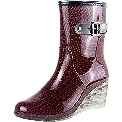 Wealsex Mujer Cuñas Cuatro Estaciones Moda Botas De Lluvia Transparente Zapatos De Agua Cremallera Lateral con Hebilla Antideslizantes Botas Impermeable (Vino Tinto,38)