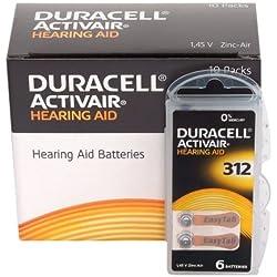 Duracell Easytab/Activair type 312pour appareils auditifs Zinc Air P312PR41ZL3, Lot de 60