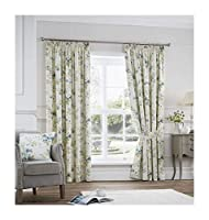"Trailing Floral Flowers Duck Egg Blue Fully Lined 66"" X 72"" - 168cm X 183cm Pencil Pleat Curtains by Curtains"
