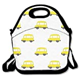 Yellow Bus Reusable Insulated Lunch Bag School Picnic Thermal Carrying Gourmet Lunchbox Lunch Tote Container Organizer for Women,Teens,Adults-Lunch Boxes for Outdoors,Work, Office, Schoo
