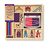 Melissa & Doug Wooden Princess Stamp Set: 9 Stamps, 8 Coloured Pencils, and 2-Colour Stamp Pad