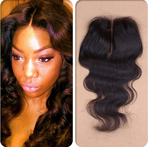 Romantic Angels®16''(40cm) middle part lace closure Tissage 100% bresilien ondule body wave vierge (4*4)