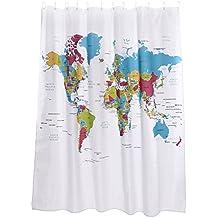 (Mapa del mundo Inglés) Cortina de ducha colorida impermeable, 71 x 71 pulgadas [180 x 180 cm] 12 agujeros por Discoball®
