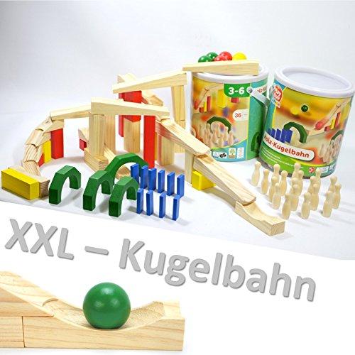 Playtive Junior XXL Holz KUGELBAHN 72 Teile Maxi Bausatz Meine Erste Murmelbahn Bahnen Bausteine Rampe ~yx 36 2X 1675 +