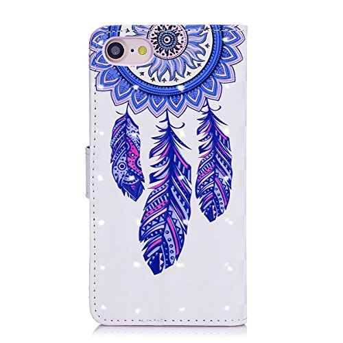 Custodia iphone 7 4.7, iphone 8 Cover pelle, Ekakashop Fashion Lusso Fantasia 3D Painted Colorate Design Folding Portafoglio Libro Wallet Bookstyle Flip PU Leather Antiurto Cover, Ultra Slim Silicone Campane del vento Blu