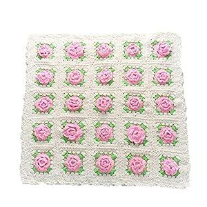 Disfraz de accesorios de fotografía para recién na Baby Photo Props Baby Pink Flower Mantas gruesas de punto Manta súper… 13