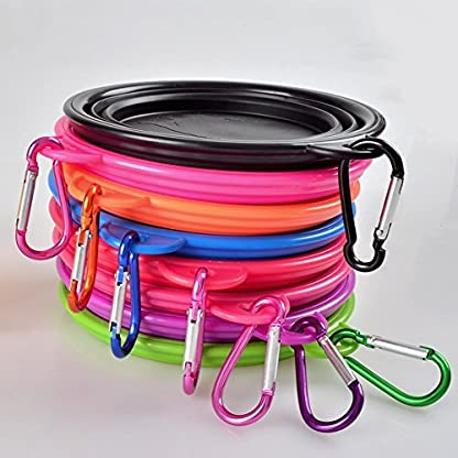 Dimart Expandable Collapsible Pet Dog Bowl Folding Puppy Food & Water Feeder with Climbing Button Carabiner for Outdoor… 2