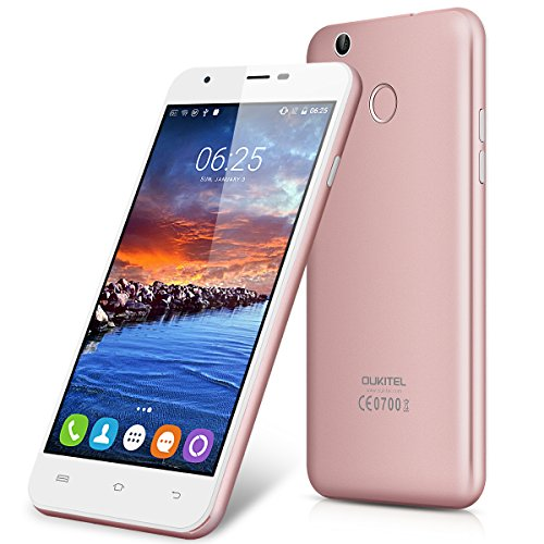 Oukitel U7 Plus - 4G Smartphone Libre Android 6.0 (Pantalla 5.5'' IPS, MT6737 Quad Core 1.3 GHz, 2GRam, 16GRom, Dual Sim, Huella Dactilar Smart Wake) (Rosa dorado)