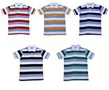 Indistar Boys Half Sleeves Cotton Polo T-Shirts(Pack of 5)_Red::Yellow::Purple::Green::Black_M