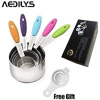 aedilys Best Cucchiai dosatori per secco e ingredienti liquidi £ ¨ separatore di uova £ ©-Design ergonomico con manici in silicone, antiscivolo, ideale per forno e cucina 5 Piece Cups