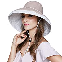 IBLUELOVER Women Cotton Bucket Summer Sun Hat UPF50+ Ladies Foldable Wide Brim Summer Beach Hat Chin Strap Packable Travel Floppy Outdoor UV Neck Protection Hat Holiday Hat Adjuatable Beige
