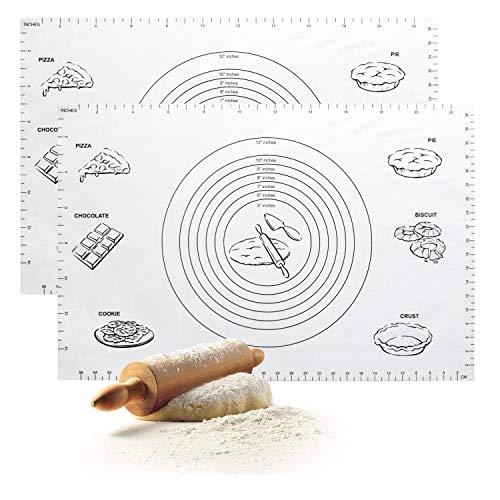 Große Silikonbackmatte (60cm * 40cm), Non Stick & Skid Wiederverwendbar Hitzebeständig Matte, Knet matte, Teig auflage, zum Backen Pizza Teig Pie Plätzchen Gebäck 2-teiliges Set