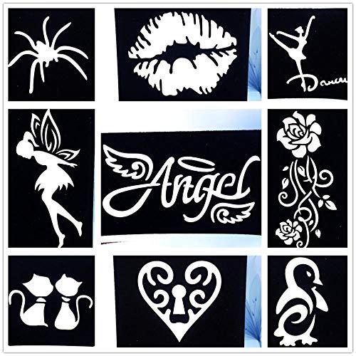 Tattoo Aufkleber Wasserfest 9 Teile/Los Lip Engel Muster Tattoo Schablone Diy Airbrush Rose Aufkleber Vorlage Für Mädchen Frauen Body Art Tattoo Schablone (Verschiedene Arten Von Engel Kostüm)