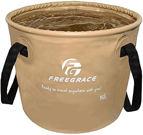 Seau pliant et compact supérieur par Freegrace – Réservoir à eau pliable et portatif – léger et durable – Offert en plusieurs couleurs et grandeurs (Kaki, 10L)