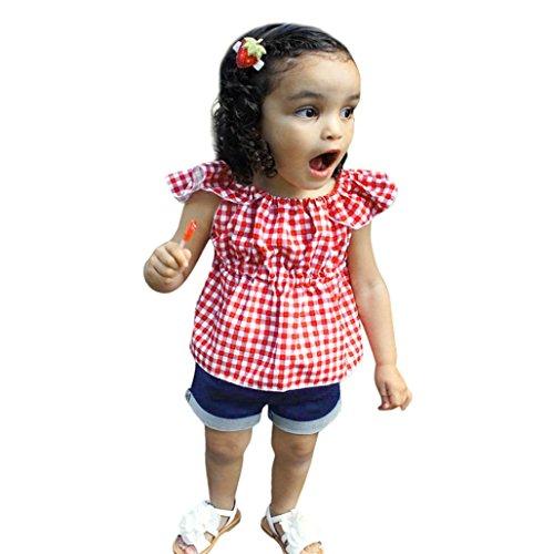 Ensembles Shorts Et Haut Fille, Bonjouree T-Shirt sans Manches à Carreaux Et Denim Shorts Ete pour Enfant Fille 1-4 Ans (Rouge, 3-4 Ans)