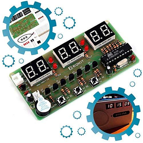 iHaospace 6Bits Digital Clock DIY Electronic Assemble Soldering Kit AT89C2051 FR-4 PCB Board Solder Tool (Science-display-board)