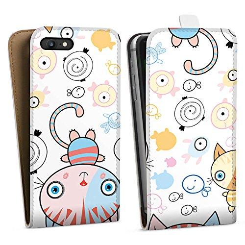 Apple iPhone 4 Hülle Case Handyhülle Katze Kids Kinder Downflip Tasche weiß