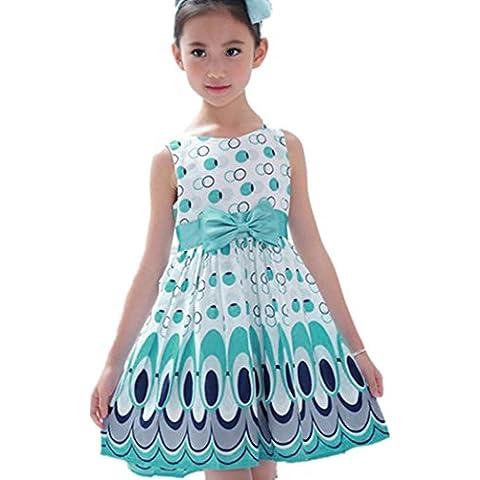 Ularma Vestido de las niñas, cinturón de arco sin mangas burbuja ropa fiesta del pavo real