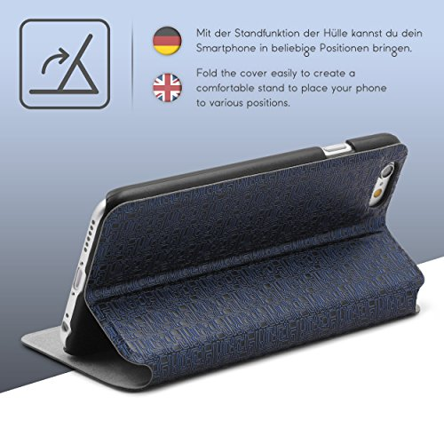 Urcover® iPhone 6 6S Hülle, Schutzhülle mit [ Stand-Funktion ] Flip Case Cover Etui Bookstyle Wallet für Apple iPhone 6 / 6S Farbe: Hell Grau Dunkel Blau
