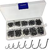 THKFISH Angelhaken, 500 Stücke # 3 ~ # 12 10 Größen Salzwasser Süßwasser Schwarz Angelhaken Kommt mit Einzelhandel tragen Box Angelgerät eingestellt