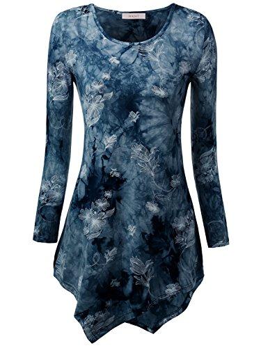 WAJAT Damen Langarm T-Shirt Asymmetrisch Hem Tunika Stretch Tie Dye Blau 2XL (Langarm Tie Dye)