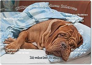 Merchandise for Fans Blechschild/Warnschild / Türschild - Aluminium - 20x30cm - - Willkommen in Meinem Zuhause - Motiv: Bordeaux Dogge/Französischer Mastiff - 16