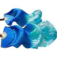YI NA SHENG WU Azul real + Colores mezclados Abanico de bambú Abanicos de seda con mango de bambú 1 mano izquierda + 1 ventiladores a la derecha (180X90 cm)