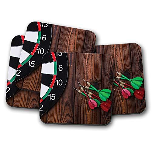 4er-Set - Awesome Dart Board Untersetzer - Darts Pub Game Sport Herren Dad Geschenk #16005 - Pub Coaster Set