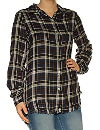 0cbed59c Karen Kane Womens Blue Plaid Cuffed Collared Button Up Top Size: S