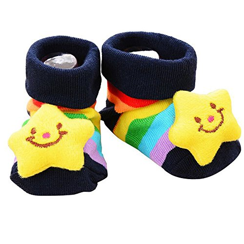 Little Sporter Indoor Socken Slipper Schuh Rutschfeste Unisex Baby Niedlich 3D Cartoon Kurz Socken Hausschuh Schuh Stiefeletten Stern 1 Paar (Niedliche Baby-socken)