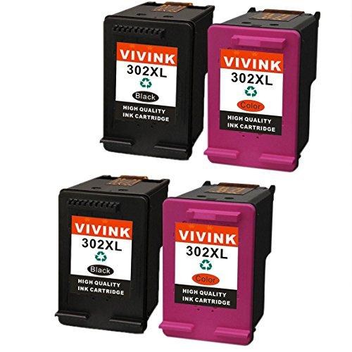 VIVINK Remanufactured für HP 302XL Druckerpatronen (2 Schwarz, 2 Tri-Farbe) Kompatibel Mit HP Envy 4520 4525 4524 4527,Officejet 3833 4658 3834 3830 3831,Deskjet 3630 2130 3636 1110 3633