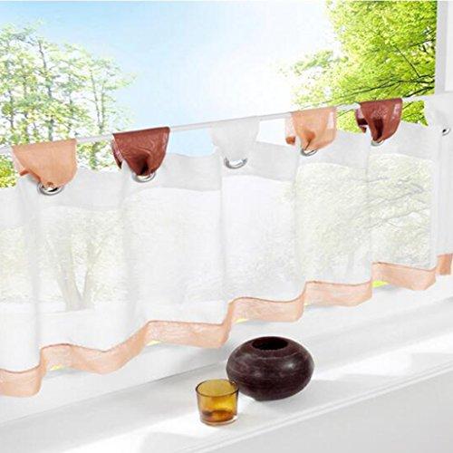 Simpvale tendina da cucina a mantovana, corta, in cotone e lino, per parte inferiore della finestra, caffè, 45cm(altezza)x120cm(larghezza)