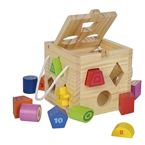 Eichhorn 100002092 – Steckwürfel aus Holz, 13-teilig, Holz natur/bunt – 14,5×14,5×14,5 cm – Spielwürfel  – Motorik - 2