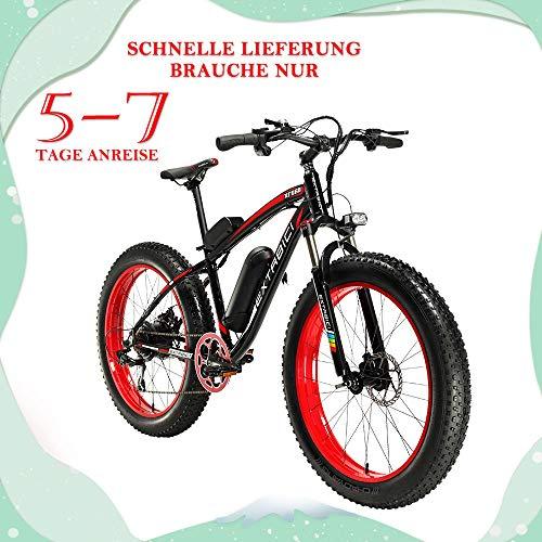 Extrbici Xf660 500 W 48 V 10.4 Ah Vélo électrique 26 'X4.0 Fat Bike Cruiser 7 Vitesses Shimano Derailluer Snow Beacn Montagne Ebike Vélo Dual Power Off Freins à Disque hydraulique (Red)