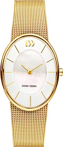 Danish Design Women's Quartz Watch with White Dial Analogue Display and Gold Stainless Steel Strap DZ120555