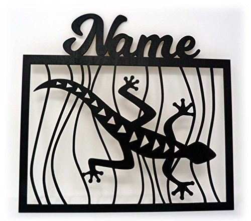 Schlummerlicht24 Led 3d Wand-Deko Gecko Eidechsen + Name Geschenk als Lampe für Wohn-Zimmer Schlafzimmer Wandtattoo (Schwarz)