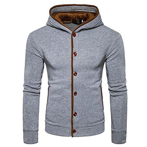 IMJONO Jacket,2019 Neujahrs Karnevalsaktion Herrenkleidung Mens Warm Hoodies Sweatershirt Hooded Jumper Pullover Coat Jacket (XX-Large,Grau)